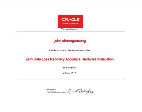 ZDLRA Hardware Partner Certificate