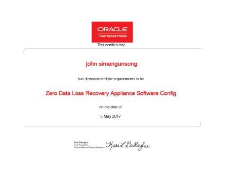 ZDLRA Software Partner Certificate